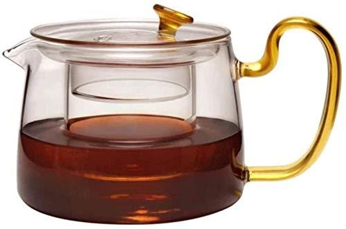 Tetera transparente de alta borosilicato de vidrio tetera negro con filtro de té Set