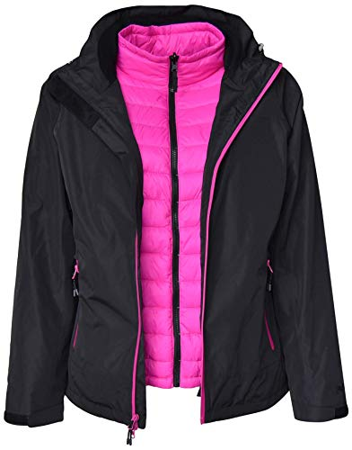 Pulse Womens Plus Size 3in1 Swiss Systems Snow Ski Jacket (2X, Black Pink)