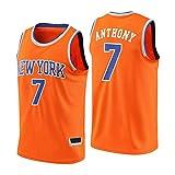 Dybory Jersey para Hombre New York Knicks # 7 Carmelo Anthony, Unisex Retro Sin Mangas, Transpirable Secado Rápido Baloncesto Gimnasio Chaleco Camiseta Deportiva,Naranja,L