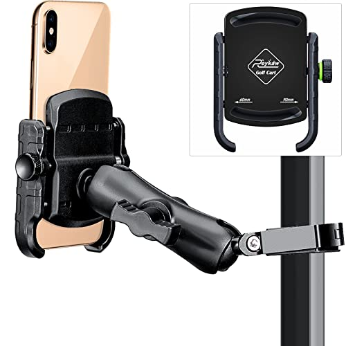 Roykaw Golf Cart Phone Mount Holder for iPhone/Galaxy/Google Pixel & GPS SkyCaddie SX400, SX500 - Upgrade One-Handed...