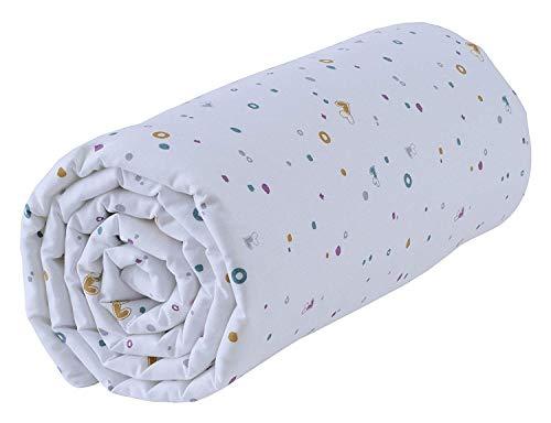P'tit Basile - Drap housse bébé coton Bio pour lit et matelas 60x120 cm - bonnets aux 4 coins - 57 fils par cm2 - Imprimé Petits Coeurs