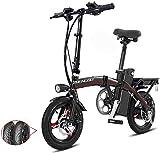 RDJM Bici electrica Bicicletas eléctricas rápida for adultos Pedales ayuda de la energía y 48V de la batería de iones de litio y aluminio ligero bicicleta eléctrica con un 14 pulgadas ruedas y cubo de