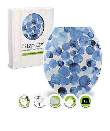 SITZPLATZ® WC-Sitz mit Absenkautomatik, buntes Dekor Tupfen, antibakterieller Duroplast Toilettendeckel, FastFix Schnellbefestigung, ovale Standard O Form universal, Metallscharniere, Blau, 40670 3