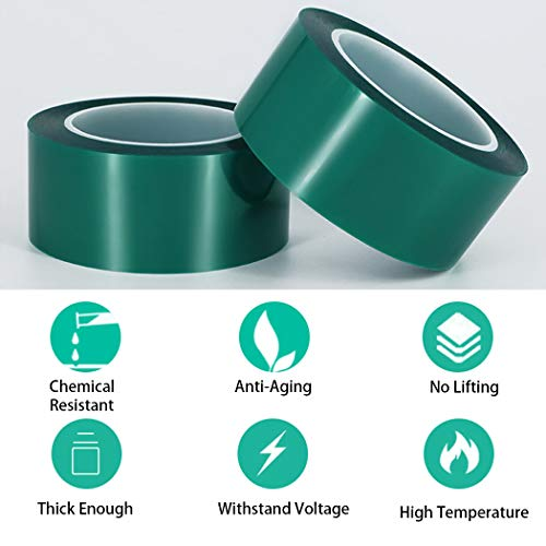 """APT,2 Mil Polyester Tape with Silicone Adhesive, PET Tape, high Temperature Tape, 3.5 mil Thickness, Powder Coating, E-Coating (1, 0.5"""" x 72Yds) Photo #4"""