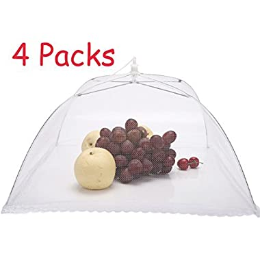 4 PCS 17 x17  Large Pop-up Foldable Mesh Screen Food Cover Tents Umbrella -- For Outdoor Party Picnic BBQ Camping