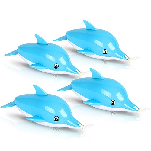 ArtCreativity Pullback String Dolphin Bath Tub Toys for Kids, Set of 4, Swimming Dolphin Water Toys for Bathtub, Pool, and Lake Fun, Adorable Aquarium Birthday Party Favors for Boys and Girls