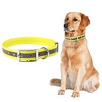Solome Lサイズ犬反射カラー防水首輪媒体への大型犬の首輪(イエロー)