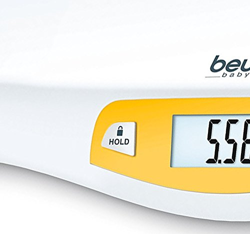 Beurer BY80 Baby Scale, Pet Scale, Digital, for: Infant, Newborns, Puppy, Cats, LCD Display, Weighs [LB/OZ/KG] Highly Accurate, Hold & Tare Function, Curved Weighing Platform (44 lbs)