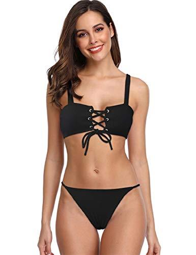 Yuson Girl Amen Crossover - Bikini acolchado de red de dos piezas, ropa de playa, bandeau, bikini para mujer, conjunto con cinturón delantero y tanga, bikini push up sexy Negro M