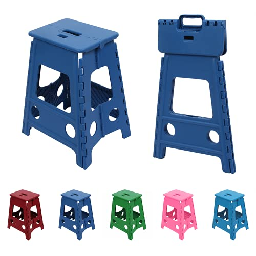 QILESUNNY 2021 Upgrade Folding Step Stool with Handle,The Stool Comes with a Locking Device,Portable Collapsible Plastic Stool for Adults,Office Kitchen Garden Bathroom Stools(Blue, 18inch)