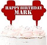 Mancuernas de acrílico personalizadas para tartas de cumpleaños, gimnasio, levantamiento de pesas, ejercicio de 20 colores, rojo oscuro