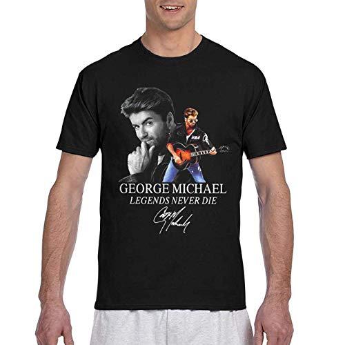 IUBBKI Camiseta básica de Manga Corta para Hombre George Michael Legends Never Die Signature T-Shirt for Men