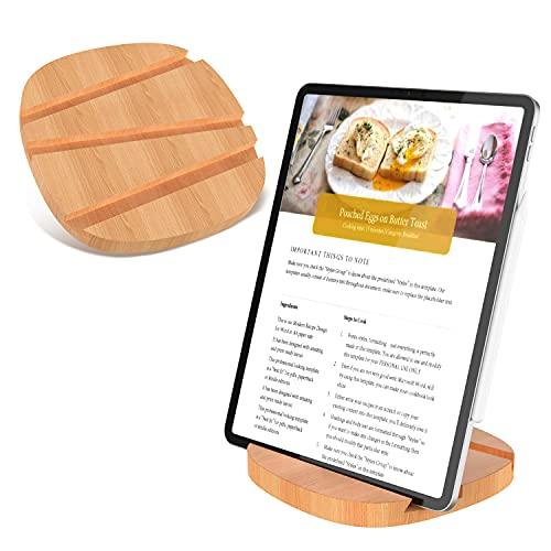 SANOTO Soporte para tablet de madera noble para iPad, iPhone, Samsung, etc. – Soporte para tableta/teléfono móvil escritorio