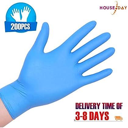 200pcs Nitrilo Guantes Desechables L Polvo Guantes Azul Libres De Látex, Dispensador Pack Cocina Universal/Lavavajillas…