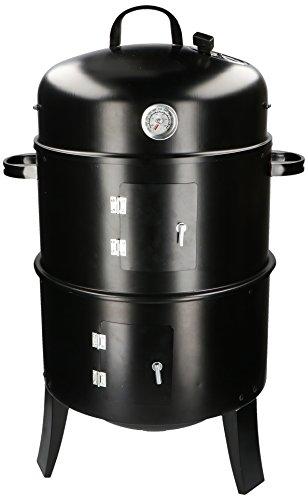 BBQ Collection - Holzkohlegrill und Räucherofen 3 in 1 - Barbecue Smoker Grill - Thermometer, 2 Kohlebehälter, Belüftungsreguliering - Schwarz