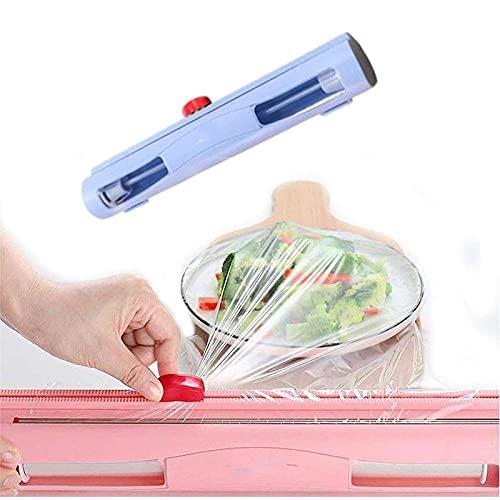 NULINULI Dispensador Envoltura De PláStico, Alimentos Cortador De PláStico Envoltorio De Papel De Aluminio Y Film Transparente Cocina De Almacenamiento Dispensador Azul