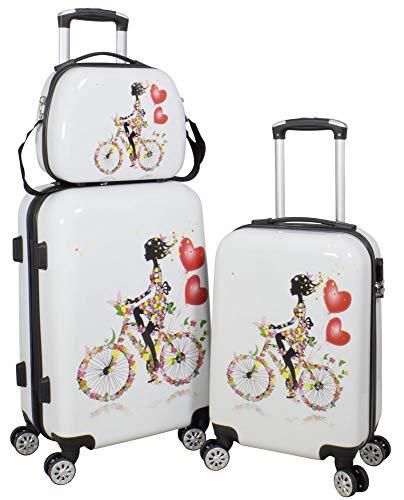 Trendyshop365 Trendyshop365 Hartschale Reisegepäck-Set Blumenmädchen auf Fahrrad 3-teilig Bunt