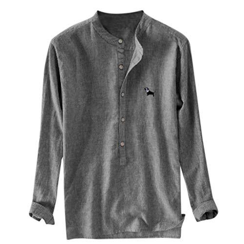 Tyoby Herren Gestreifte Stickerei Lose Langarmshirts,Einfach Komfortables Basic Hemden(Dunkelgrau,L)