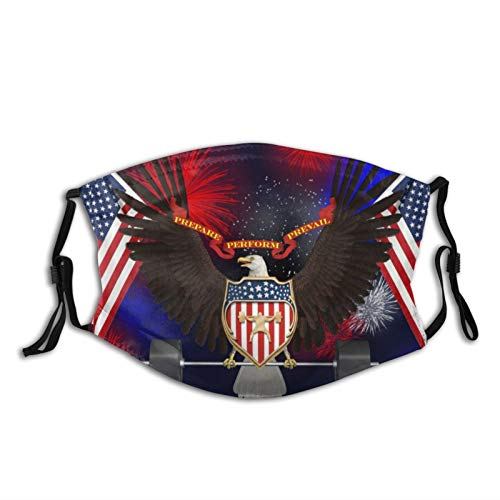 Bald Eagle Barbell American Flag Usa Patriotic Face Mask With Filter Pocket Washable Reusable Face Bandanas Balaclava With 2 Pcs Filters