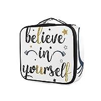 KAPANOU プロ用 メイクボックス 自分を信じてスローガンキラキラ 多機能 高品質 美容師 マニキュリスト 刺青師 専用 化粧ボックス メイクアップアーティスト 収納ケース メイクブラシ 化粧道具 大容量