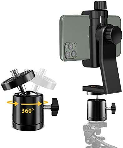 6amLifestyle Cell Phone Tripod Mount Adapter with Tripod Ball Head 360 Rotatable for Universal product image
