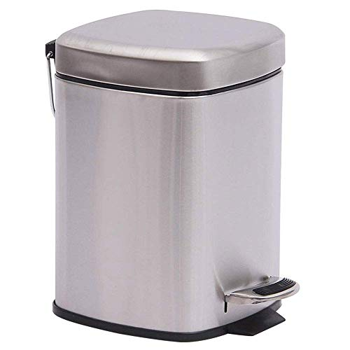Garten, Platz Treadle Trash Can - Badezimmer Küche Surviving Zimmer Ruhig absteigend Edelstahl Abfalleimer Küche, Lasting Einfach Uncontaminating, Metallic-Effekt Leichte Fit Bento Lunch Box for Ki 1y