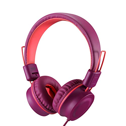 Kids Headphones-Noot Products K33 Foldable Stereo Tangle-Free 5ft Long Cord 3.5mm Jack Plug in Wired On-Ear Headset for iPad/Amazon Kindle,Fire/Boys/Girls/School/Laptop/Travel/Plane/Tablet(Plum)