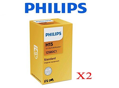 Preisvergleich Produktbild 2 x Philips Vision H15 pgj23t-1 lamparas 12 V 55 / 15 W + 30% Licht Auto Moto Transporter Bus 4 x 4 SUV