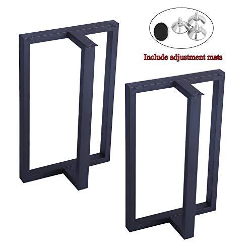 Womio 2Pcs Metal Furniture Legs Rustic Decory T Shape Table Legs,Desk Legs,Heavy Duty Dining Table Legs,Industrial & Modern,Black(H28 x L17.5 inchs)