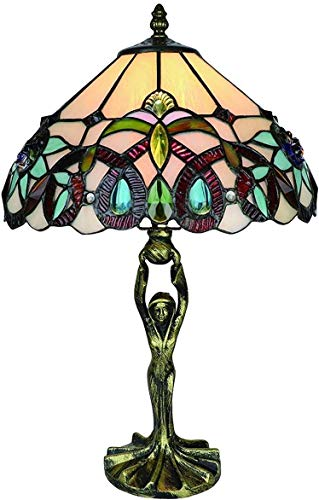MARUA Tischleuchte Tiffany-Stil Beleuchtung Victorian Mit Schatten W12 H18 Inch Lavendel Glasmalerei Lampe Antike Kunst Basis Für Wohnzimmer Nachtkaffeelesesaal