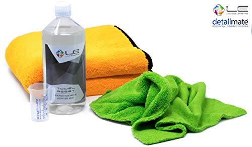 detailmate Liquid Elements Set: Orange Baby Mikrofaser Trockentuch, Biliteral Mikrofasertuch speziell für Innenreinigung, Mikrofaserwaschmittel 1L, Messbecher 50ml