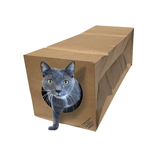 Dezi & Roo Hide and Sneak Collapsible Paper Tunnel - Made in USA - Designed by a Feline Vet - Interactive Cat Toy - Cat Enrichment Toy - Hideaway