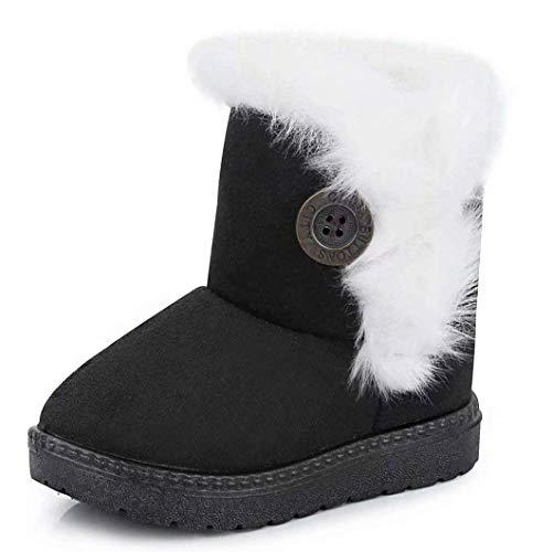 Gaatpot Zapatos Invierno Niña Niño Botas de Nieve Forradas Zapatillas Botón Botines Planas para Unisex Niños Negro 24 EU = 25 CN