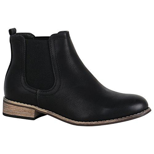 Gefütterte Damen Schuhe Chelsea Boots Kunstleder Stiefeletten 150435 Schwarz Avelar 39 Flandell