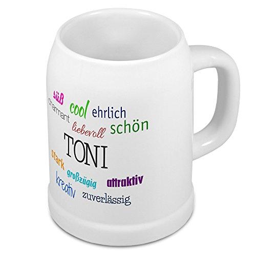 Bierkrug mit Name Toni - Positive Eigenschaften von Toni - Namens-Tasse, Becher, Maßkrug, Humpen