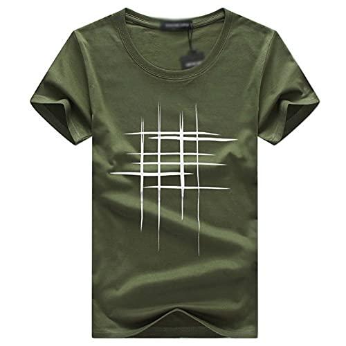 Camiseta de Manga Corta de Gran tamaño para Hombre, Top de Media Manga Casual