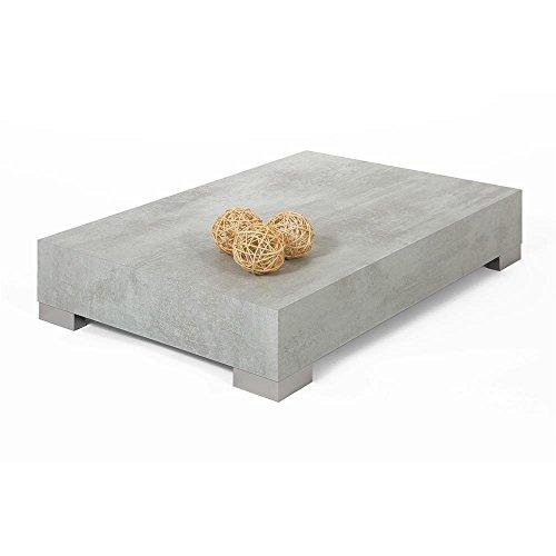 Mobilifiver Tavolino da Salotto, iCube 90, Cemento, 90 x 60 x 18 cm, Nobilitato/Acciaio Inox Satinato, Made in Italy, Disponibile in Vari Colori