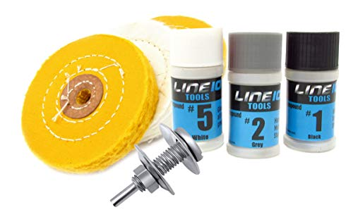 Metal Buffing Wheel Kit for Drill, with 3 Step Polishing Compound By LINE10 Tools