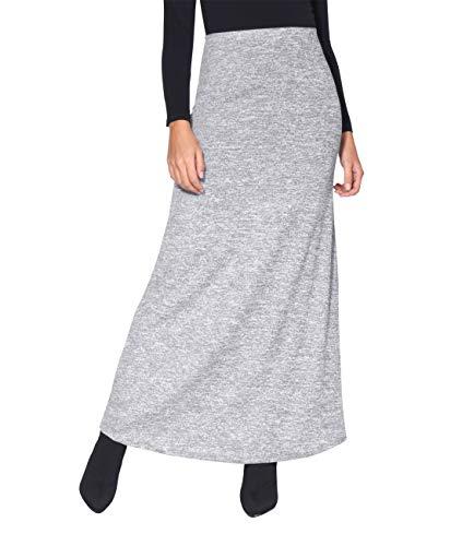 KRISP Falda Larga Mujer Boho Hippies Bohemia Elegante Vuelo Talla Grande Cintura Alta Elástica, (Gris (2968), 36 EU (08 UK)), 2968-GRY-08