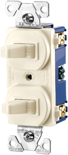 Eaton 271LA 15-Amps 120/277-Volt Traditional Heavy Duty Grade Two Single-Pole Switches, Light Almond