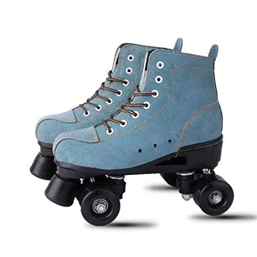 XUDREZ Roller Skates for Women Men High-top Roller Skates Four Wheels Roller Derby Skates Shiny Roller Skates for Girls Boys with Shoes Bag (Blue,43=US:9)