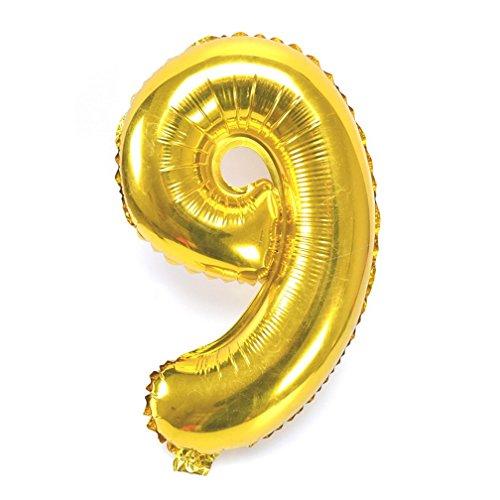 Souarts Ballon Gonflable Forme Chiffre 9 pour Anniversaire Fete Mariage Enfant Couleur Dore 46cmx29cm 1PC