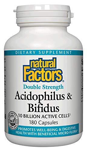 Natural Factors, Acidophilus & Bifidus Double Strength, Supports Digestive Health and Microflora Balance, Probiotic Supplement, 10 Billion CFU, 180 capsules (180 servings)