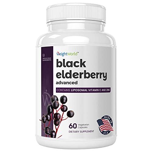 Schwarzer Holunder Kapseln - 100% vegan & natürlich - 500mg Elderberry Extrakt mit Liposomal Vitamin C und Zink - 2 Monatsvorrat - Geprüfte Zutaten & Ohne Zusatzstoffe - 60 Kapseln - WeightWorld
