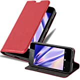 Cadorabo Hülle für Nokia Lumia 550 in Apfel ROT - Handyhülle mit Magnetverschluss, Standfunktion & Kartenfach - Hülle Cover Schutzhülle Etui Tasche Book Klapp Style