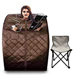 Healing Forest Low Emf Infrared Saunas for The Home,Plus Size Portable Sauna Heater,Personal Sauna Tent, Portable Sauna with Thermometer,Timer,Chair,Footpad(Brown)