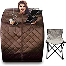 Healing Forest Low Emf Infrared Saunas for The Home,Plus Size Portable Sauna Heater,Personal Sauna Tent, Portable Sauna with Thermometer,Timer,Chair,Footpad?Brown?