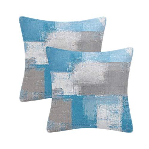 B-HOT Quadratischer Kissenbezug für Sofa, Stuhl, Couch/Schlafzimmer, dekorativer Kissenbezug, 45 x 45 cm, Blau, Grau, 2 Stück