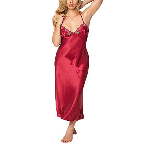 ABsoar Dessous Damen Satin Nachthemd Rückenfrei Nachtkleid Lace Nachtwäsche Sexy V Ausschnitt Negligee Pyjama Babydoll Lingerie Dessous mit Spaghettiträger