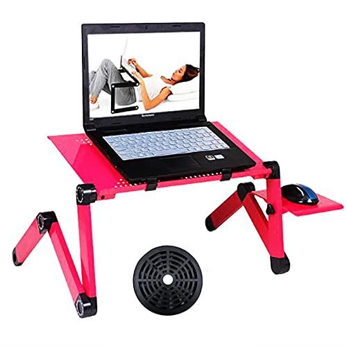 Escritorio de computadora portátil de Aluminio Ajustable Escritorio de computadora ergonómico de TV portátil Lapdesk Bandeja PC Tabla de Mesa Cuaderno de Mesa de Mesa (Color : Red with One Fan)